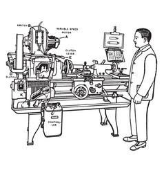Motorized lathe vintage vector