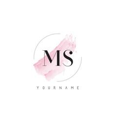 Ms m s watercolor letter logo design vector