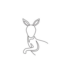 one continuous line drawing funny kangaroo vector image