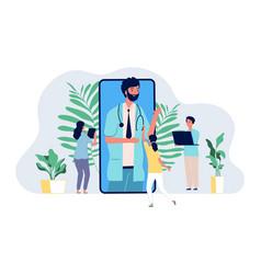 Online doctor medical consultation mobile app vector