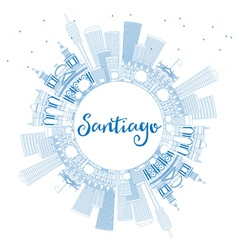 Outline Santiago Chile Skyline vector