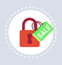 padlock sale online shopping protection concept vector image