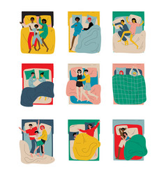 People sleeping at night set family couples lying vector