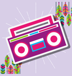 Pink radio stereo retro feathers free spirit vector