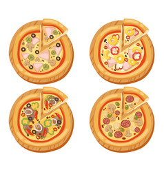 Pizza flat icons isolated vector