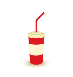 plastic cup of soda with straw vector image