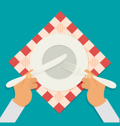 Plate knife and fork with hands vector