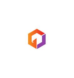polygon shape sign logo vector image