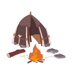 Primitive house or archaic prehistoric dwelling vector