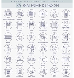 Real Estates outline icon set Elegant thin vector