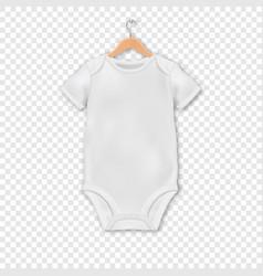 Realistic white blank babodysuit vector