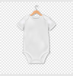 realistic white blank baby bodysuit vector image