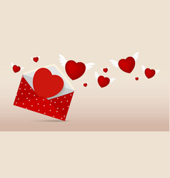 Red envelope with paper heart for valentines day vector