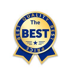 ribbon award best price label gold ribbon award vector image
