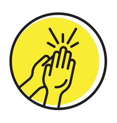 Rounded clapping hands flat icon for apps vector