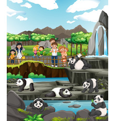 Scene with kids and pandas vector
