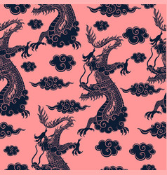 Seamless pattern with chinese dragon in blue vector