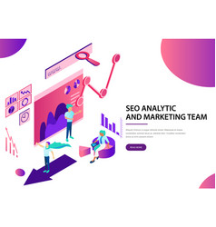 Seo analytic and marketing team landing web page vector