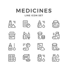 Set line icons of medicines vector