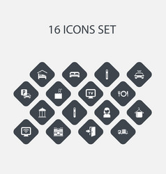 Set of 16 editable motel icons includes symbols vector