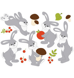 set of cute cartoon rabbits vector image