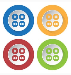 set of four icons - music control buttons vector image