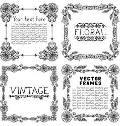 Set of four vintage floral frames vector image