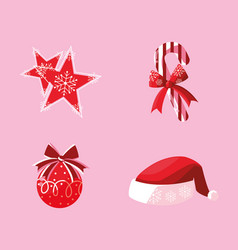 set of icons decoratives merry christmas vector image