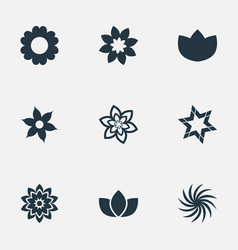 Set simple blossom icons vector