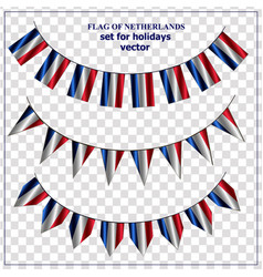 Set with flags netherlands with folds happy vector