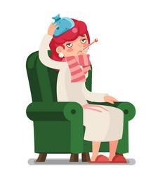 Sick ill female week sit armchair cold virus flu vector