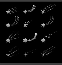 silver shooting star icons vector image