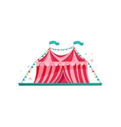Small red-pink circus tent decorated with bunting vector