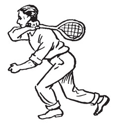 Tennis player vintage vector