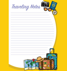 Traveling notes design with object set vector