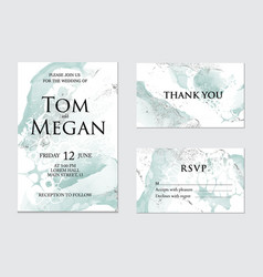 trendy greeting card set with green watercolor vector image