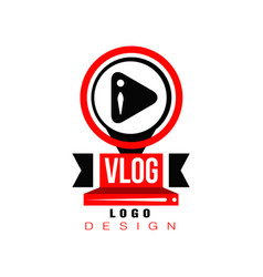 Trendy logo with play button in circles original vector