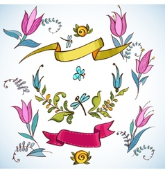 Wedding graphic set laurel wreaths ribbons vector