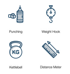 weightlifting tools flat pack vector image