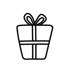 wrapped gift box decoration party icon thick line vector image