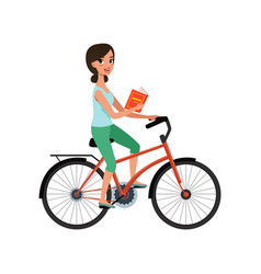 young beautiful woman riding bicycle with book in vector image