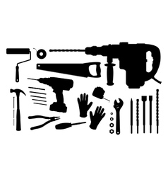 Construction tools silhouettes set vector image vector image