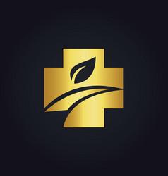 Cross organic medic gold logo vector
