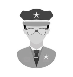 grayscale police officer icon image vector image vector image
