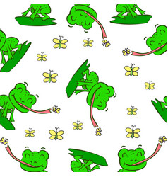 green frog hand draw pattern style vector image