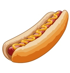 Hot dog with grilled sausage vector image