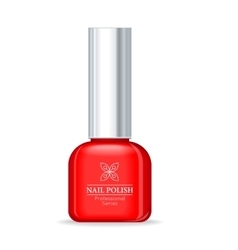 Nail polish professional series red bottle vector