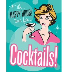 Retro style Cocktails poster or invitation vector image