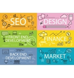 Set Banners Seo Design Finance Flat vector image vector image