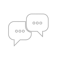 speech bubbles sign black dotted icon on vector image
